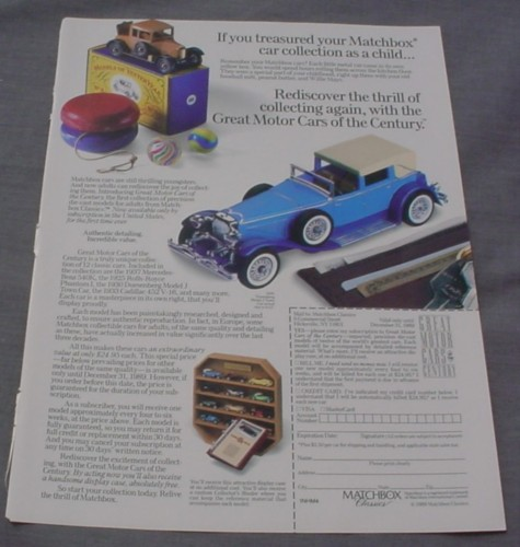 Magazine Ad for The Matchbox Car Collection, Great Motor Cars of The Century, 1989
