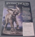 Magazine Ad for Elephant Sounding the Alarm Sculpture, Danbury Mint, 1989