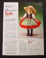 Magazine Ad for Shirley Temple Heidi Porcelain Doll, Danbury Mint, 1986