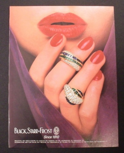 Magazine Ad for Black Starr Frost Rings, Jewelry, Jewellry, 1985