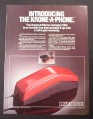Magazine Ad for Krone-A-Phone Compact 1000, Red Slimline Phone, 1984