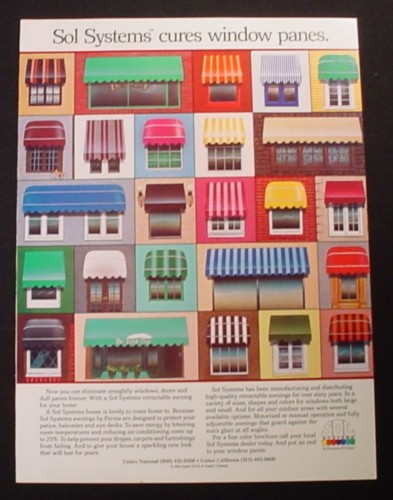 Magazine Ad for Sol Systems Building Awnings, 25 Models, 1984