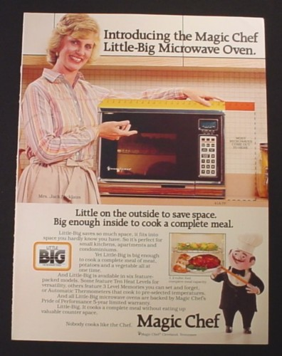 Magazine Ad for Magic Chef Microwave Oven, Mrs. Jack Nicklaus Celebrity Endorsement