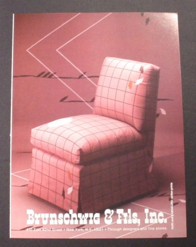 Magazine Ad for Brunschwig & Fils Lounger Chair with Square Pattern , 1983