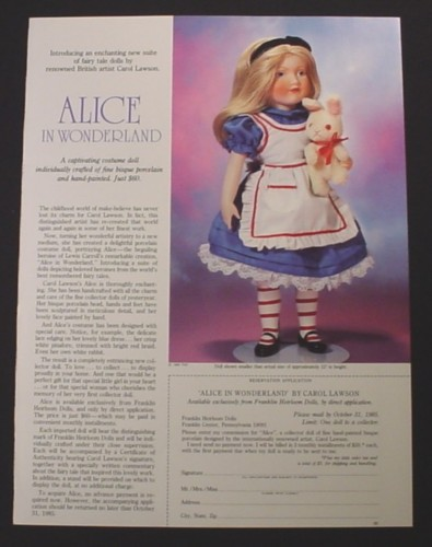 Magazine Ad for Alice In Wonderland Porcelain Doll, Franklin Heirloom Dolls, 1985