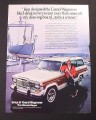 Magazine Ad for Jeep Grand Wagoneer, Sailboat in Sling In Boat Yard, 1985
