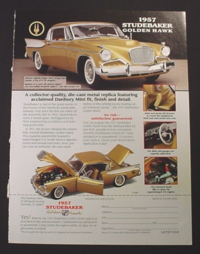 Magazine Ad for 1957 Studebaker Golden Hawk Die-Cast Car, Danbury Mint, 1997