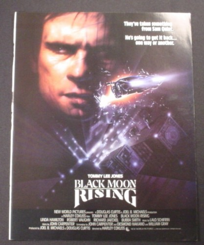 Magazine Ad for Black Moon Rising, Movie, Tommy Lee Jones, 1986