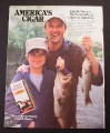 Magazine Ad for Dutch Masters Cigars, Man & Son with Fish, 1984