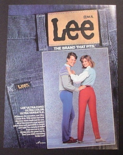 Magazine Ad for Lee Ultra Cord Jeans, Man & Woman, Clothing, 1984