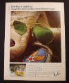 Magazine Ad for Ray-Ban Sunglasses, With Flight Jacket & Patch, 1981
