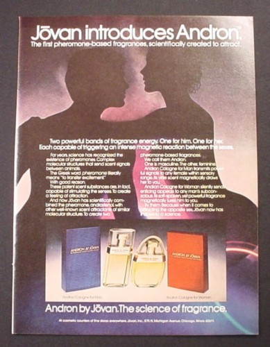 Magazine Ad for Jovan Andron His & Hers Pheremone Based Fragrances, 1981