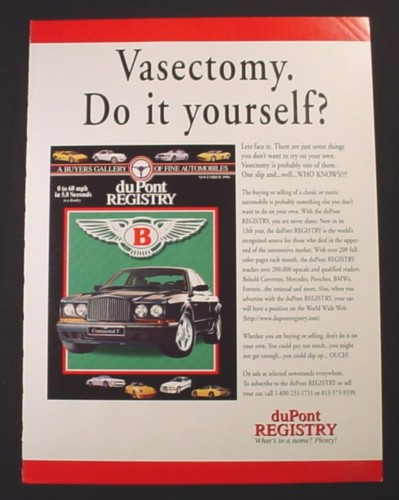 Magazine Ad for Dupont Registry, Vasectomy, Do It Yourself?, 1997