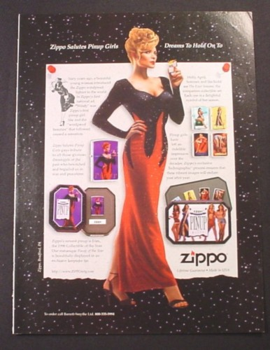 Magazine Ad for Zippo Lighter, Salute to Pinup Girls, 1996,