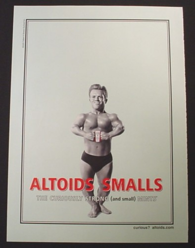 Magazine Ad for Altoids Smalls, Little Person Bodybuilder, 2005