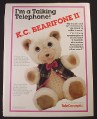 Magazine Ad for K.C. Bearphone II, Telephone Teddy Bear, 1987, TeleConcepts