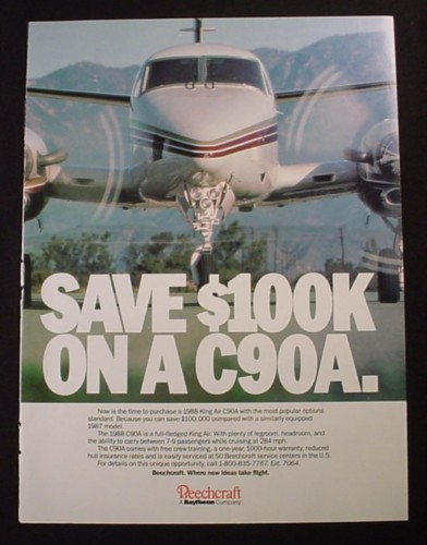 Magazine Ad for Beechcraft King Air  C90A Airplane, 1987
