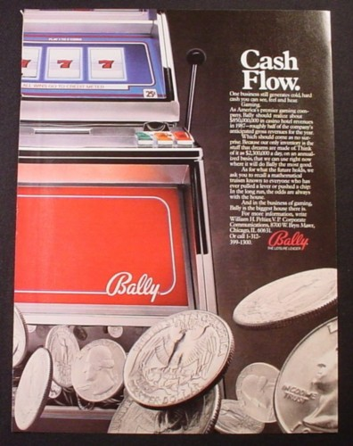 Magazine Ad for Bally Gaming, Slot Machine Shooting Quarters, 1987