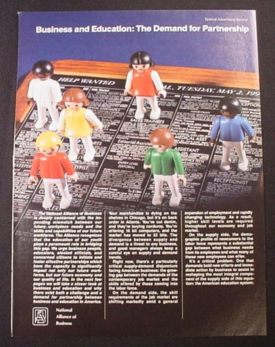 Magazine Ad for National Alliance of Business, Playmobil Klicky Toy Figures, 1988