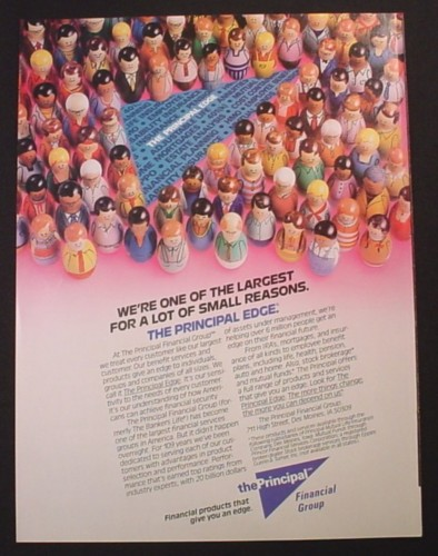 Magazine Ad for Principal Financial Group, Weeble Style Toy Figures, 1988