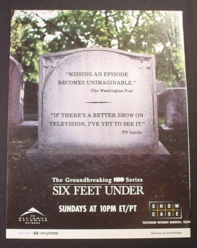 Magazine Ad for Six Feet Under TV Show, Gravestone, 2003