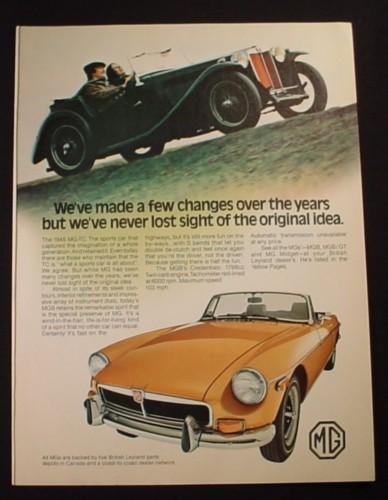 Magazine Ad for MG MGB Gold Convertible Car, 1973