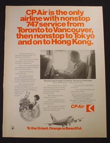 Magazine Ad for CP Air Airline, 747 Service to the Orient, 1975