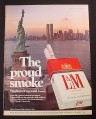 Magazine Ad for L&M Filter Cigarettes, Statue Of Liberty, 1976