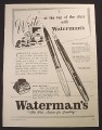 Magazine Ad for Waterman's Crusader & Dauntless Fountain Pens, 1967