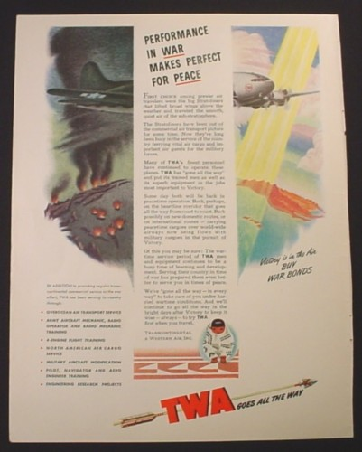 Magazine Ad for TWA Trans World Airline Stratoliner Aircraft In War Time, 1944