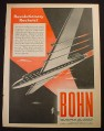 Magazine Ad for Bohn Futuristic Sleek Jet Rocket Airplane, 1944