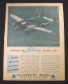 Magazine Ad for Allegheny Metal, Lightning Airplane, Wartime, 1944