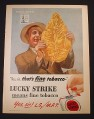 Magazine Ad for Lucky Strike Cigarettes, Holding up a Large Tobacco Leaf, 1944