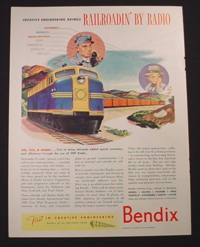 Magazine Ad for Bendix VHF Radio, Train Engine, Railroad, 1944