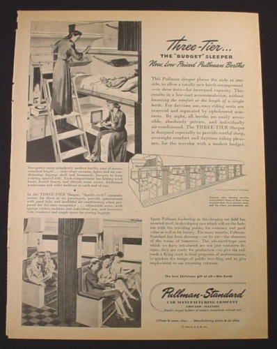 Magazine Ad for Pullman Sleeper Cars, 3 Tier Budget Sleeper, Railroad, 1944