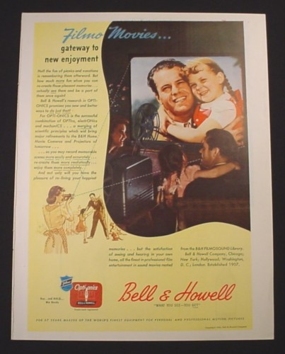 Magazine Ad for Bell & Howell Opti-Onics Projector, 1944