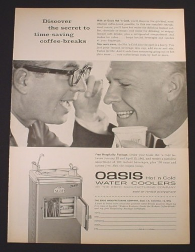 Magazine Ad for Oasis Hot N Cold Water Coolers by EBCO, 1961