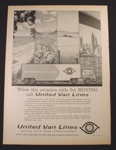 Magazine Ad for United Van Lines Moving Truck, 1961