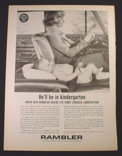 Magazine Ad for Rambler Car, Baby Strapped Into the Folded Down Front Seat, 1962