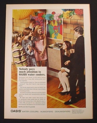 Magazine Ad for Oasis Water Cooler, School Dance, 1968