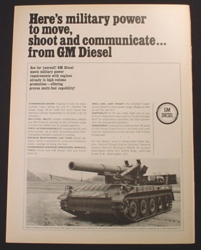 Magazine Ad for GM Diesel, Self-Propelled Army M110 8-Inch Howitzer, 1965