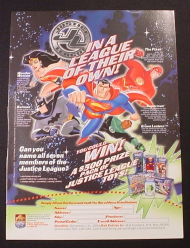 Magazine Ad for Justice League Action Figure Toys, 2003