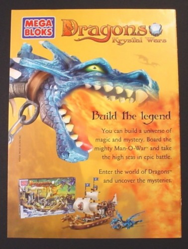 Magazine Ad for Mega Bloks Dragon Krystal Wars Toys, Build The Legend, 2003