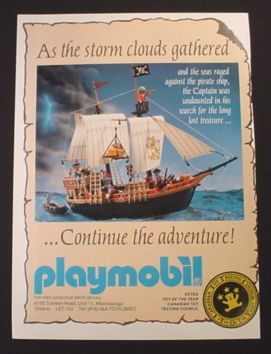 Magazine Ad for Playmobil Pirate Ship Toys, 1991