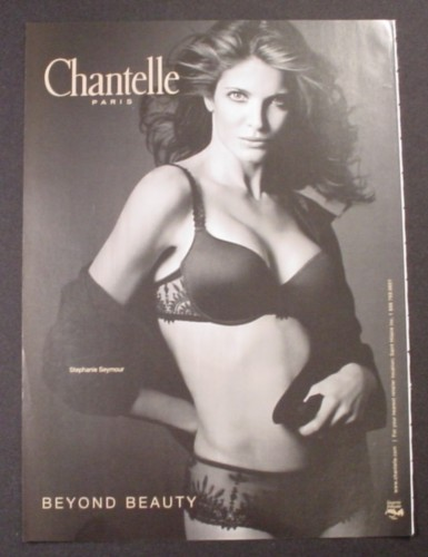 Magazine Ad for Chantelle Paris Lingerie, Stephanie Seymour Celebrity Endorsement