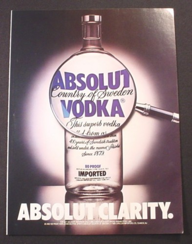 Magazine Ad for Absolut Clarity, Absolut Vodka, 1989