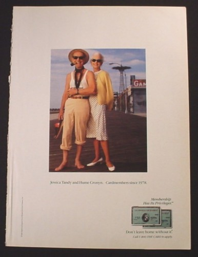Magazine Ad for American Express, Jessica Tandy & Hume Cronyn Celebrity Endorsement