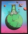 Magazine Ad for Perrier Water, Bottle Coming Out of Earth Illustration, 1984