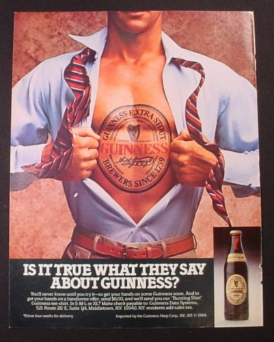 Magazine Ad for Guiness Extra Stout Beer, Man Opens Shirt to Reveal Large Tattoo