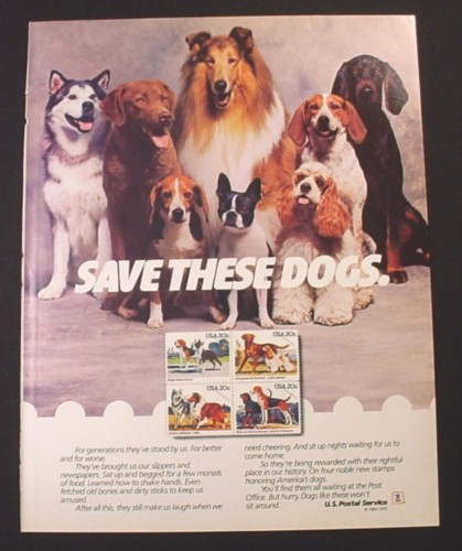 Magazine Ad for USPS Postage Stamps with Dogs, America's Dogs, U.S. Postal Service